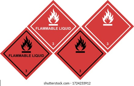 Flammable Liquids Warning Sign, warning symbol, Class 3 Hazard Warning Diamond Placard
