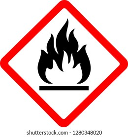 Flammable, new safety symbol, simple vector illustration