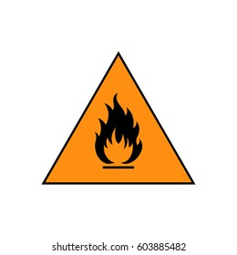 Flammable sign, flame pictogram. Orange triangle framed by a black line vector icon