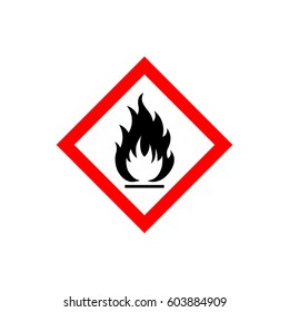 Flammable sign, flame pictogram. White square framed by a red line vector icon