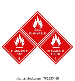 flammable sign icons set, flammable gas, flammable liquid labels red squares