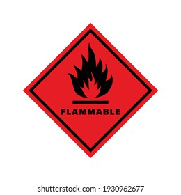 Flammable sign on a red background. The danger