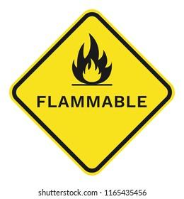 FLAMMABLE sign. Rhombus. Vector.