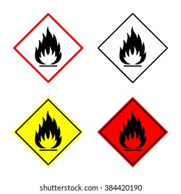 flammable sign or symbol placed in rhomb. fire hazard emblem. isolated on white background. vector illustration