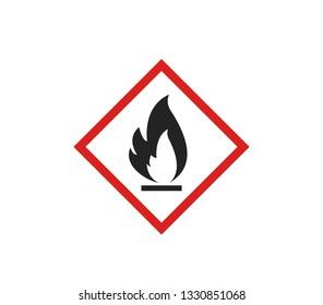 Flammable sign vector.  the globally Harmonized system vector sign.  Flammable liquid vector sign.