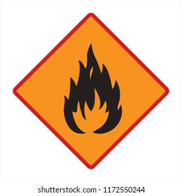 flammable! technical warning sign