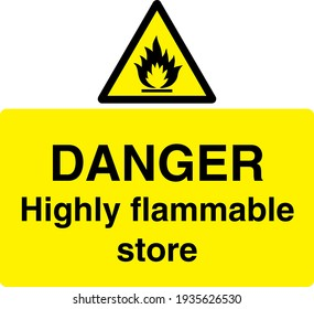 Flammable triangle black and yellow sign board