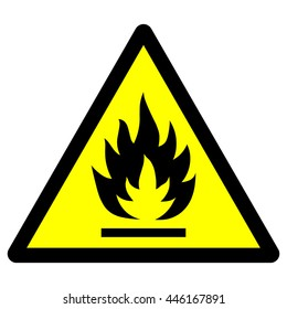 Flammable - yellow triangle warning sign , isolated vector illustration