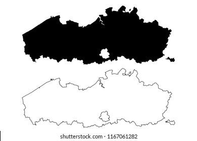Flanders (Community and region of Belgium, Kingdom of Belgium) map vector illustration, scribble sketch Flanders map