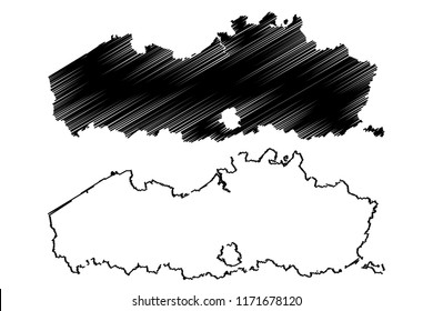 Flanders (Community and region of Belgium, Kingdom of Belgium) map vector illustration, scribble sketch Flanders map