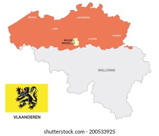 flanders map with flag
