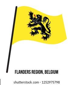 Flanders Region, Belgium Flag Waving Vector Illustration on White Background. Region Flag of Belgium. Correct Size, Proportion, Colors.