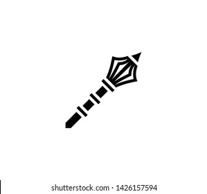 Flanged mace vector isolated flat illustration. Flanged mace icon