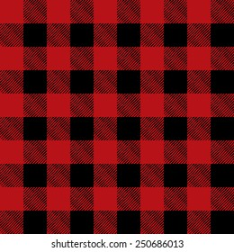 A flannel pattern illustration in red in black. Pattern can be tiled seamlessly. Vector EPS 10.
