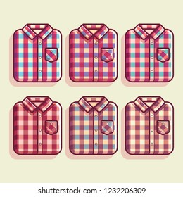 Flannel Shirt Pattern Vector Illustration, Flannel Shirt Flat vector, flannel shirt texture color, man fashion, woman fashion