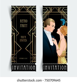 Flapper 20's style. Vintage party or thematic wedding invitation design template. Beautiful couple in art deco style. Retro fashion: glamour man and woman of twenties. Vector illustration.