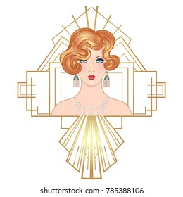 Flapper 20's style. Vintage party or thematic wedding invitation design template. Beautiful girl in art deco style. Retro fashion: glamour woman of twenties. Vector illustration.