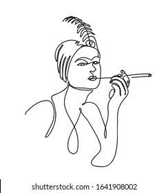 Flapper girl from 20s black and white vector illustration. The woman with cigarette holder and feather on her head.  One continuous line drawing of flapper girl portrait.
