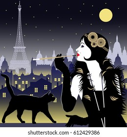 Flapper girl with cigarette and black cat on a background of Paris at night. Handmade drawing vector illustration. Art Deco style