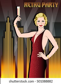 Flapper girl with a glass of champagne in a sparkly dress on the background of night city. Retro party hand drawing invitation card. Art Deco style.
