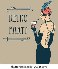 Flapper girl: Retro party invitation design. Cocktail Party.