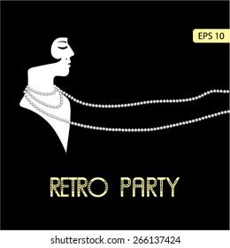 Flapper girl: Retro party invitation design template in 20's style. Vector illustration.