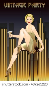 Flapper Girl. Retro party invitation card. Hand drawing. Art Deco style.