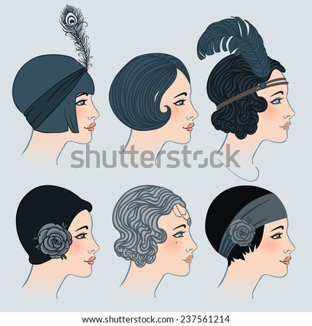 Flapper Girl Set Classic 1920 S Hairstyles Stock Vector Royalty