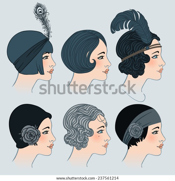 Incredible Flapper Girl Set Classic 1920S Hairstyles Stock Vector Royalty Schematic Wiring Diagrams Amerangerunnerswayorg