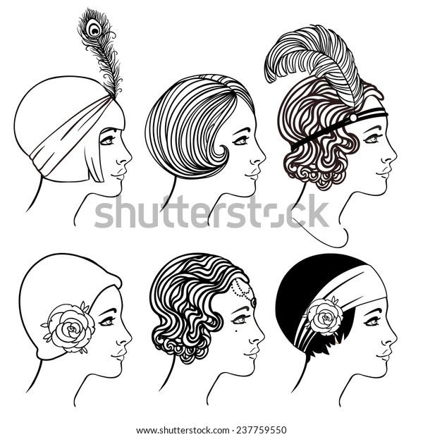 Strange Flapper Girl Set Classic 1920S Hairstyles Stock Vector Royalty Schematic Wiring Diagrams Amerangerunnerswayorg