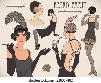 Flapper girl set: retro women of twenties. Vector illustration.