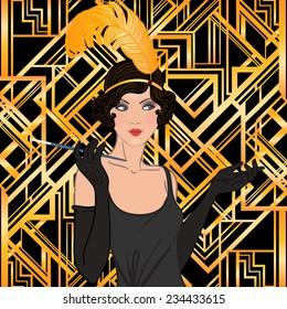 Flapper girl set: retro women of twenties. Vector illustration.