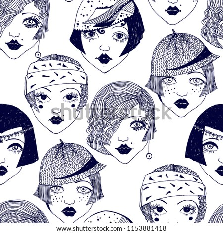 Flapper girls seamless pattern. Background with face of classic 1920's women with diffrent hairstyles and hats. Roaring 1920's repetition backdrop in doodle style.