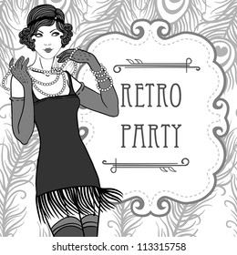 Flapper girls set: retro party invitation design in 20's style