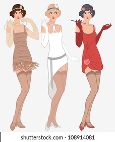 Flapper girls set: three young beautiful women of 1920s in different dresses