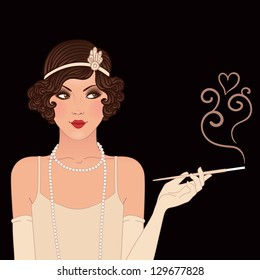 Flapper girls set: young beautiful woman of 1920s. Vintage style vector illustration. Black background.
