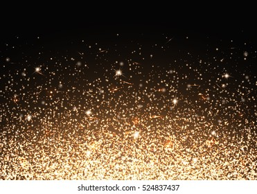 Flare background. Golden light. Christmas bokeh. Ornament for cover, congratulation, leaflets, invitation, greeting, banners, brochures, booklets. Vector decorative design.