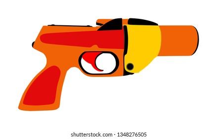 Flare gun vector isolated on white background. Signal pistol for survival stray people. SOS alert weapon for rescue help. Start shoot sign for race.