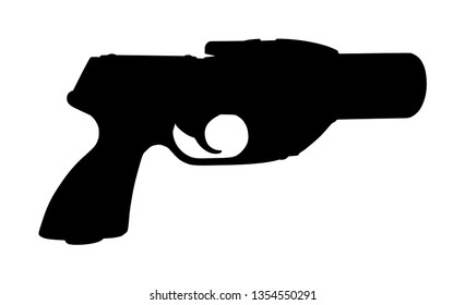 Flare gun vector silhouette isolated on white background. Signal pistol for survival stray people. SOS alert weapon for rescue help. Start shoot sign for race.
