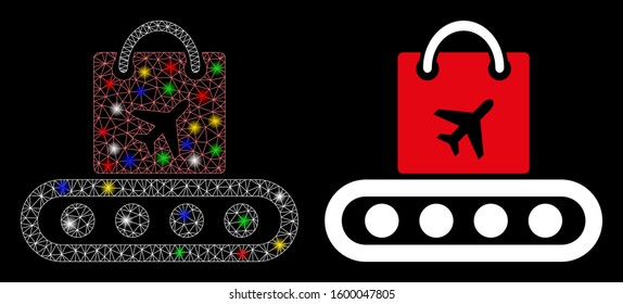 Flare mesh baggage conveyor icon with glitter effect. Abstract illuminated model of baggage conveyor. Shiny wire frame polygonal mesh baggage conveyor icon. Vector abstraction on a black background.