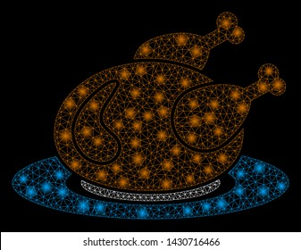 Flare mesh chicken meal with sparkle effect. Abstract illuminated model of chicken meal icon. Shiny wire carcass polygonal mesh chicken meal. Vector abstraction on a black background.