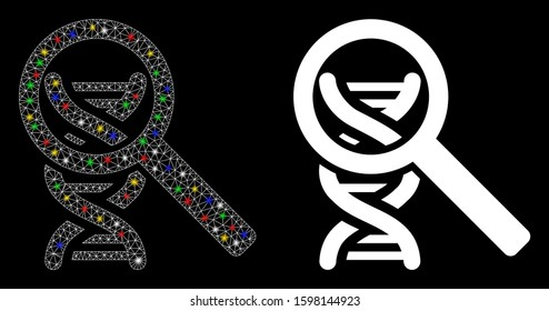 Flare mesh DNA analysis icon with glow effect. Abstract illuminated model of DNA analysis. Shiny wire carcass polygonal mesh DNA analysis icon. Vector abstraction on a black background.
