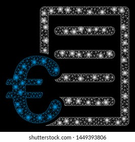 Flare mesh Euro pricelist with glow effect. Abstract illuminated model of Euro pricelist icon. Shiny wire frame triangular mesh Euro pricelist. Vector abstraction on a black background.