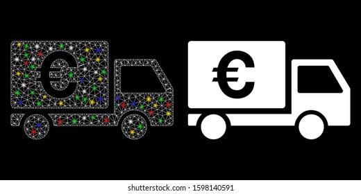 Flare mesh Euro shipment icon with glow effect. Abstract illuminated model of Euro shipment. Shiny wire carcass triangular mesh Euro shipment icon. Vector abstraction on a black background.