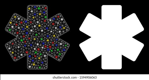 Flare mesh multiply math operation icon with sparkle effect. Abstract illuminated model of multiply math operation. Shiny wire frame polygonal mesh multiply math operation icon.