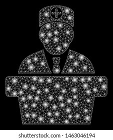 Flare mesh official doctor tribune with glitter effect. Abstract illuminated model of official doctor tribune icon. Shiny wire frame polygonal mesh official doctor tribune.