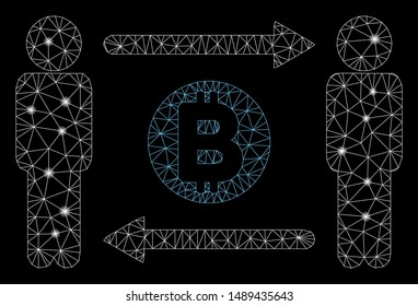 Flare mesh persons exchange Bitcoin with glare effect. Abstract illuminated model of persons exchange Bitcoin icon. Shiny wire carcass triangular mesh persons exchange Bitcoin.