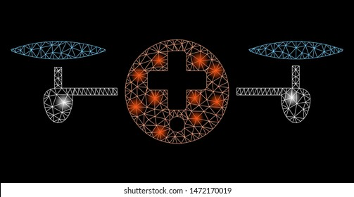 Flare mesh quadcopter pharmacy with glitter effect. Abstract illuminated model of quadcopter pharmacy icon. Shiny wire carcass polygonal mesh quadcopter pharmacy.