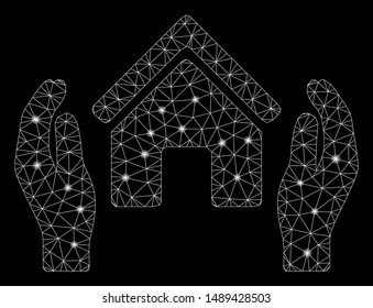 Flare mesh realty insurance hands with glow effect. Abstract illuminated model of realty insurance hands icon. Shiny wire frame polygonal mesh realty insurance hands.
