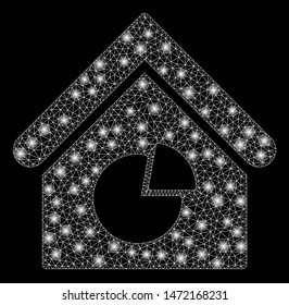 Flare mesh realty pie chart with glitter effect. Abstract illuminated model of realty pie chart icon. Shiny wire frame triangular mesh realty pie chart. Vector abstraction on a black background.